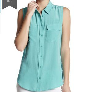 Equipment Sleeveless Signature Silk Shirt Button